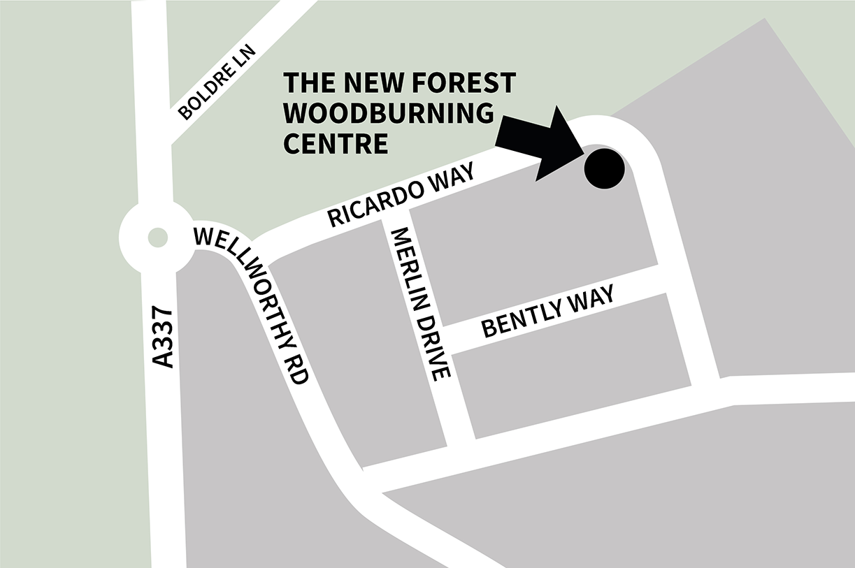 small scale map to locate New Forest Wood Burning on Ampress Estate