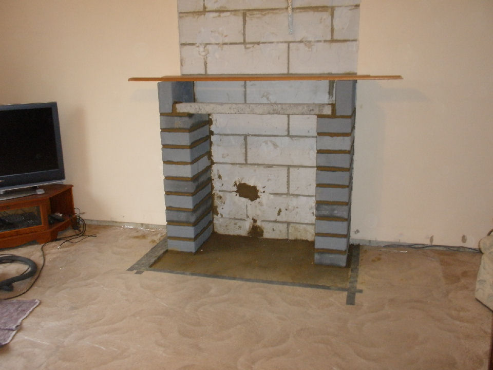 2 Hearth Laid Blockwork Pillars Lintel 3 Stove